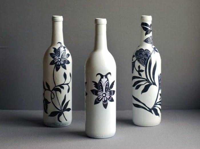 Serviettentechnik Flaschen verzieren originell