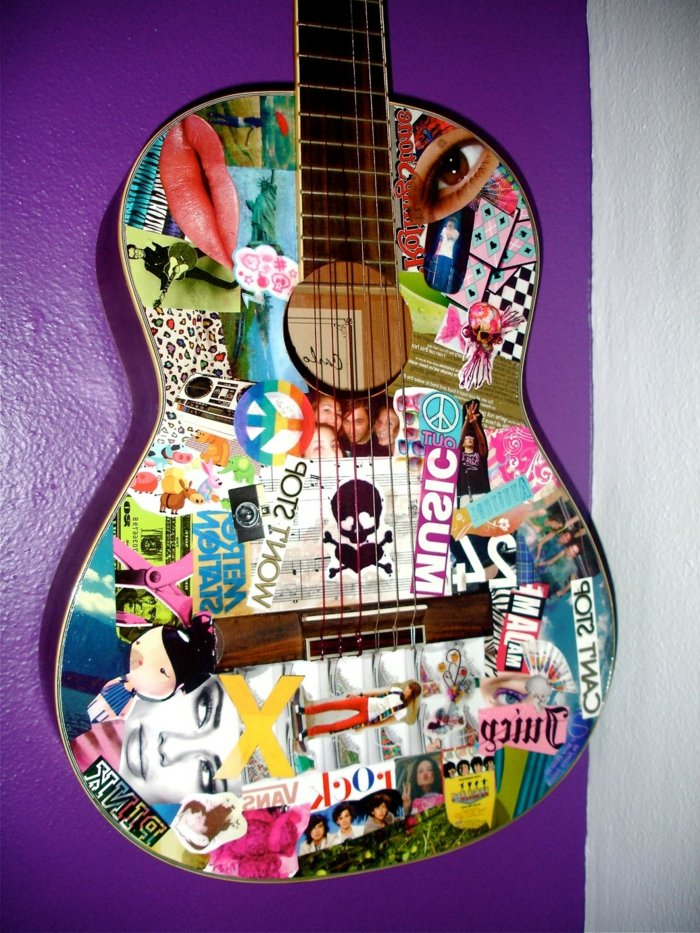 Gitarre verschönern Decoupage