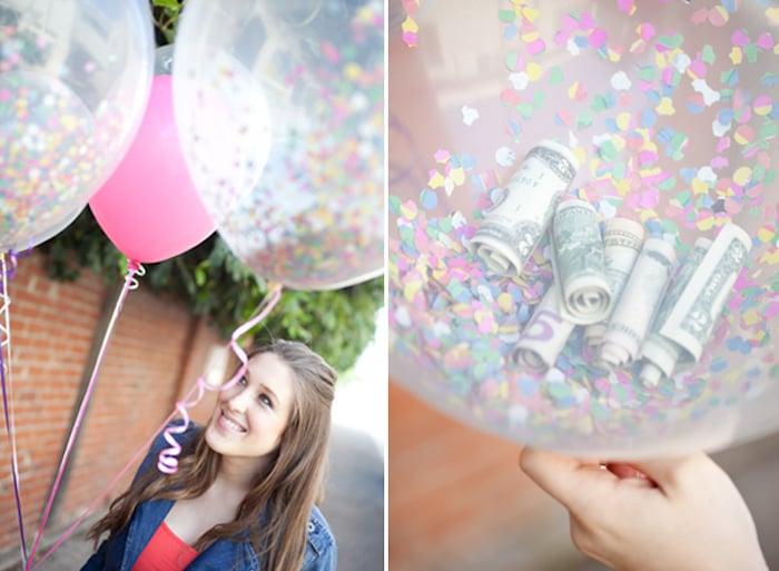 Hochzeitsgeschenke selbstgemacht Luftballons Geldscheine