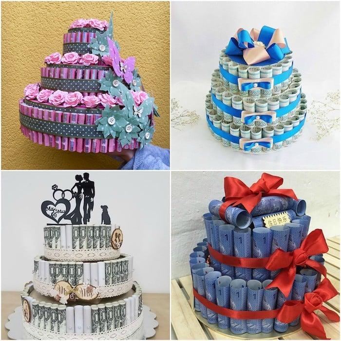 Torte machen aus Geldscheinen Hochzeit