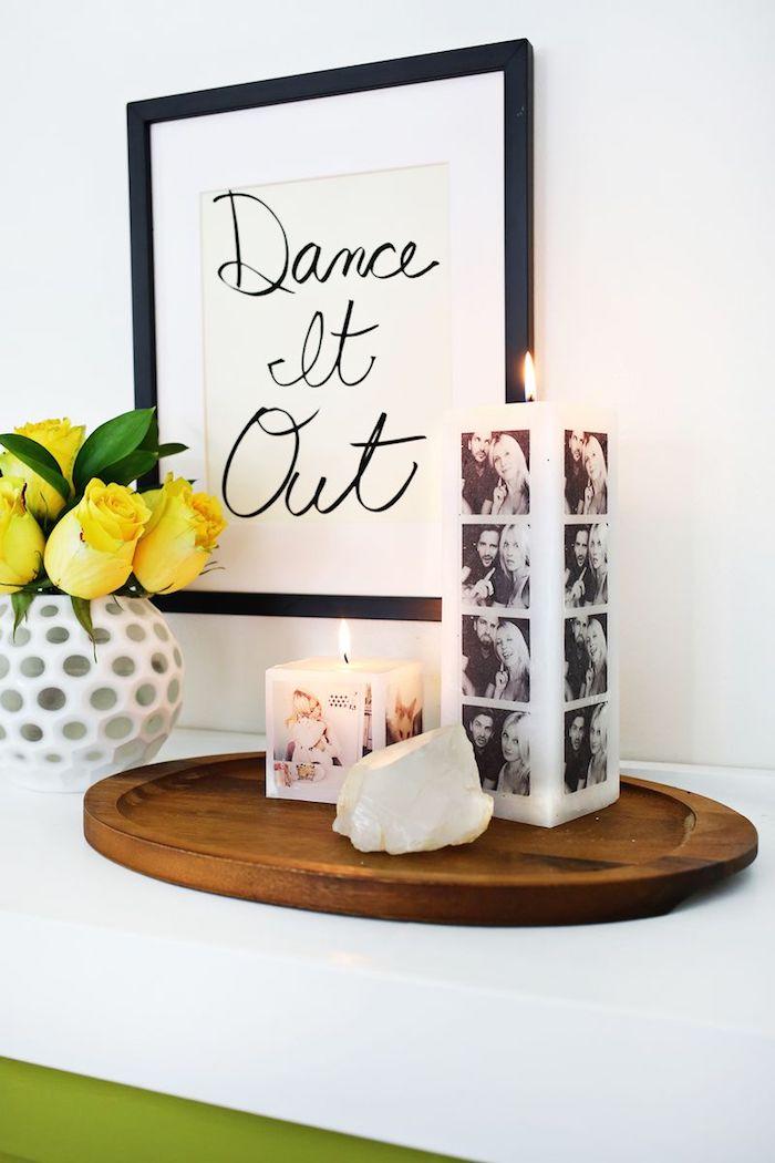 Hochzeitsgeschenke selbstgemacht personalisierte Kerze