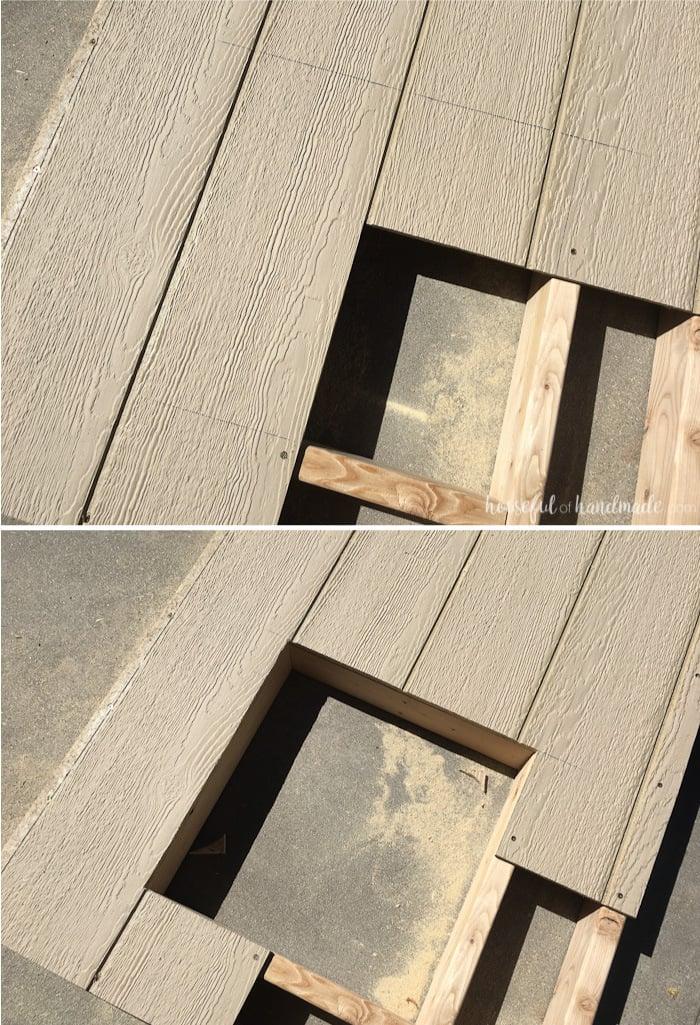 Gartenspielhaus Wände bauen Fenster ausschneiden