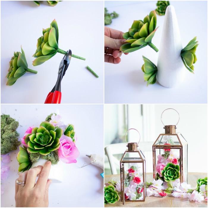 Hochzeitsgeschenke selbstgemacht Laternen füllen mit Blumen