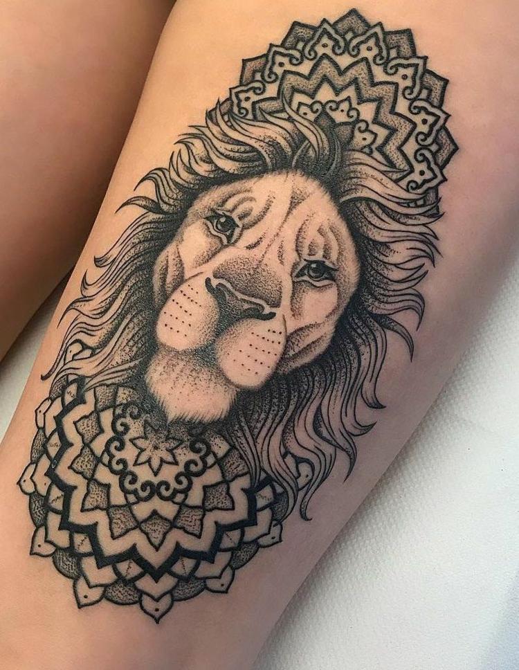 Tattoo Mandala Löwe herrlicher Look