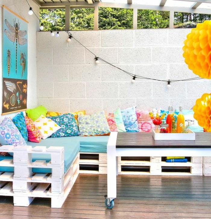 Terasse Palettenmöbel ist perfekt für Outdoor Partys