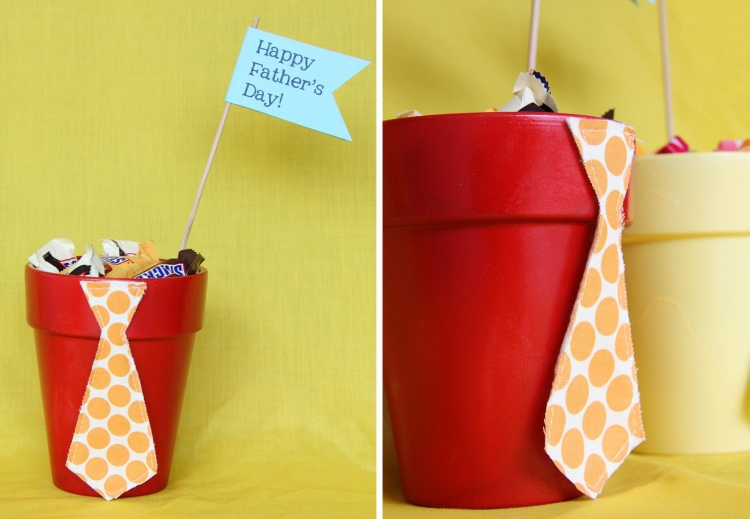 Pflanzkübel mit Süßigkeiten Geschenk Vatertag