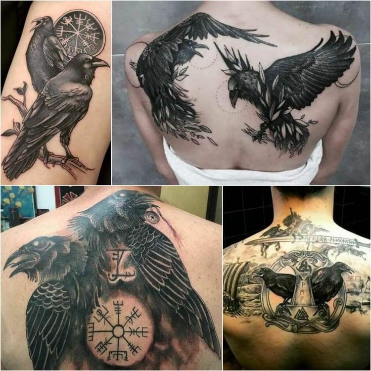 Tattoo Wikinger Kompass Raben Mann