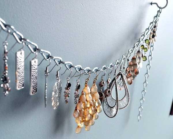 Schmuckaufbewahrung Ohrringe Metallkette