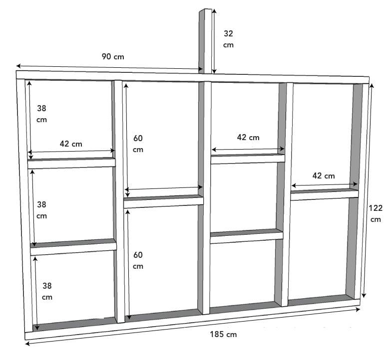 Stelzenhaus selber bauen Wände schematische Zeichnung