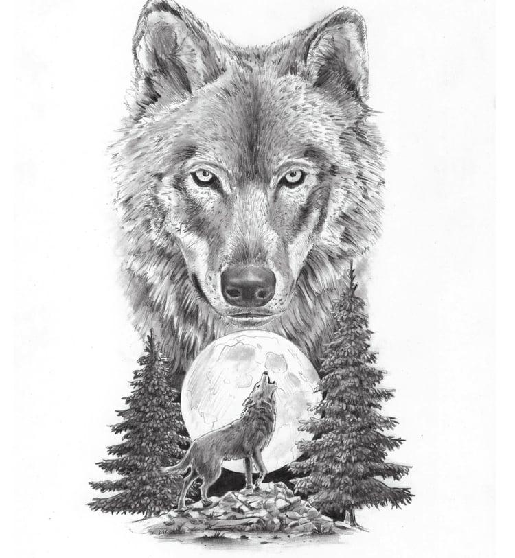 Wolf Tattoo Mond Vorlage