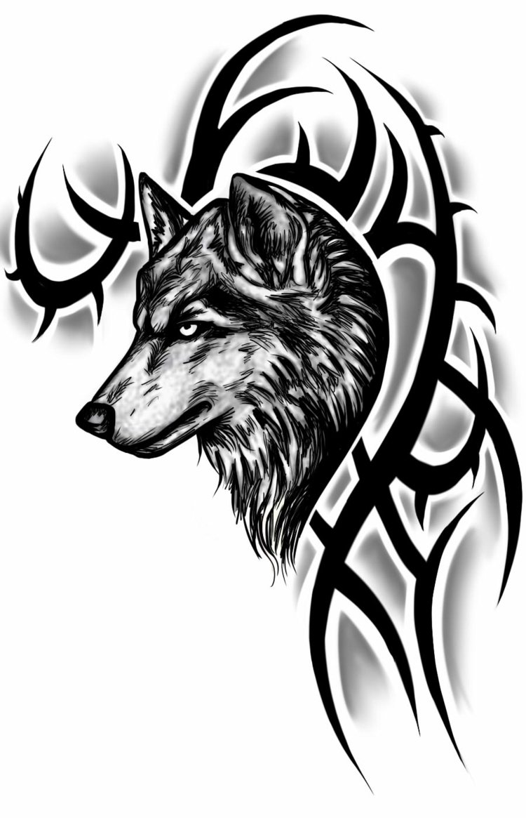 Wolf Tattoo Vorlage originell