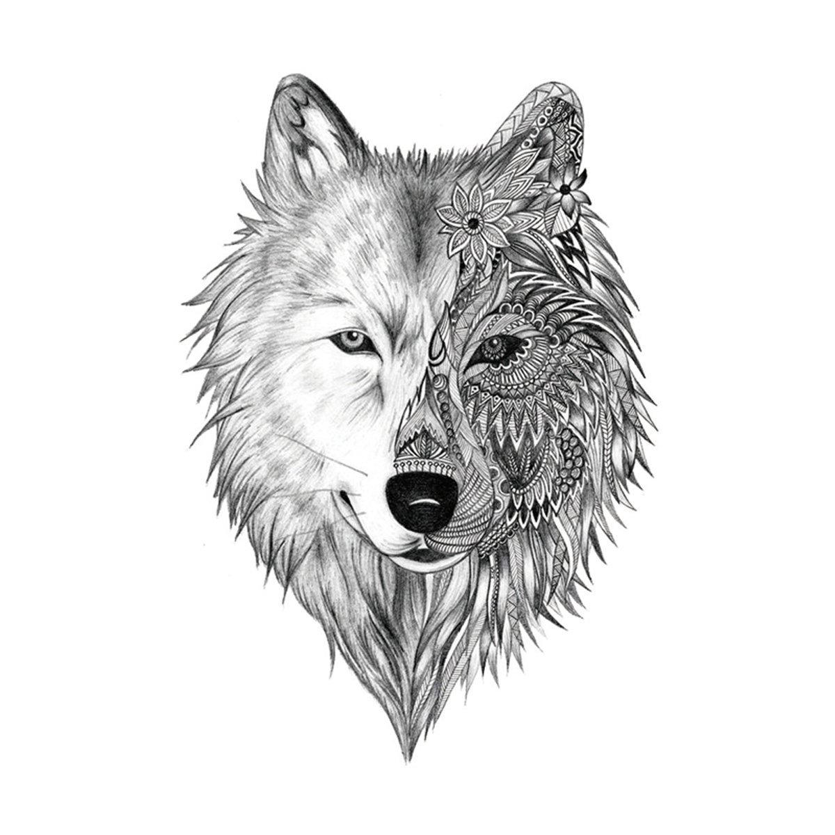 Tattoovorlage Mandala Wolf originell