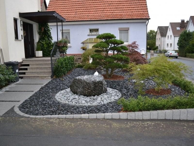 Vorgarten gestalten mit Kies herrlicher Look
