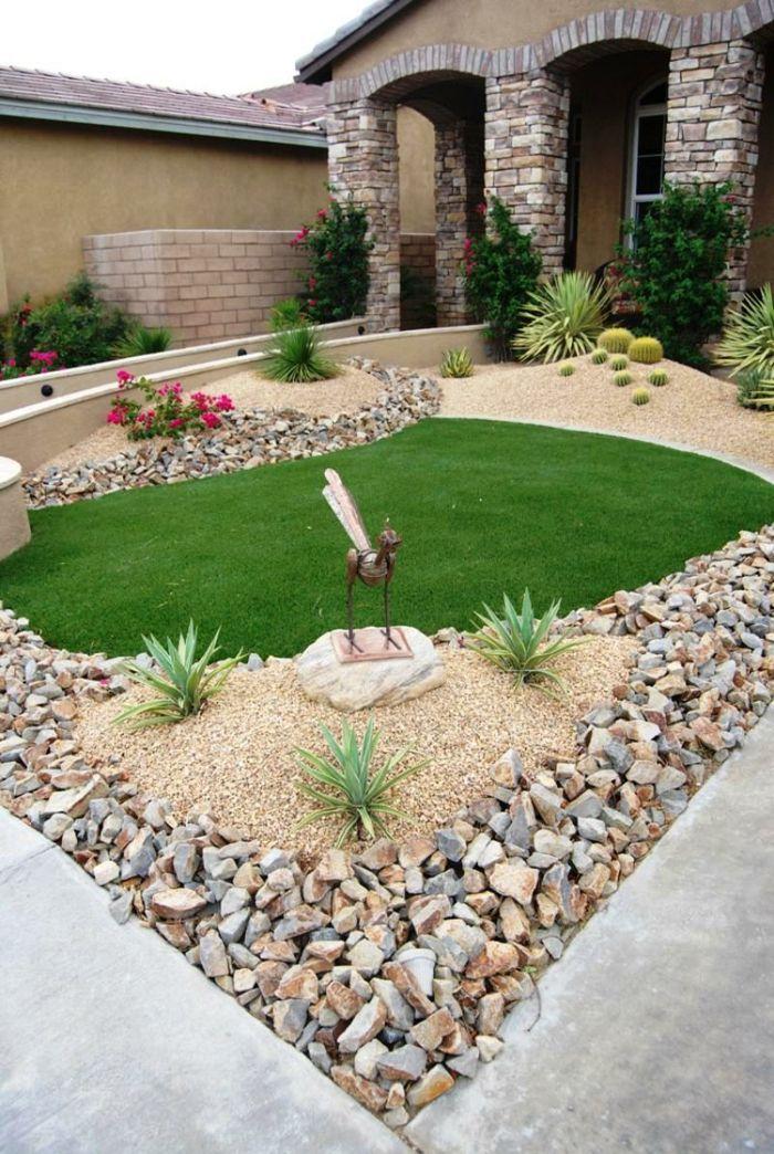 Vorgartengestaltung Rasenfläche Stein Kies