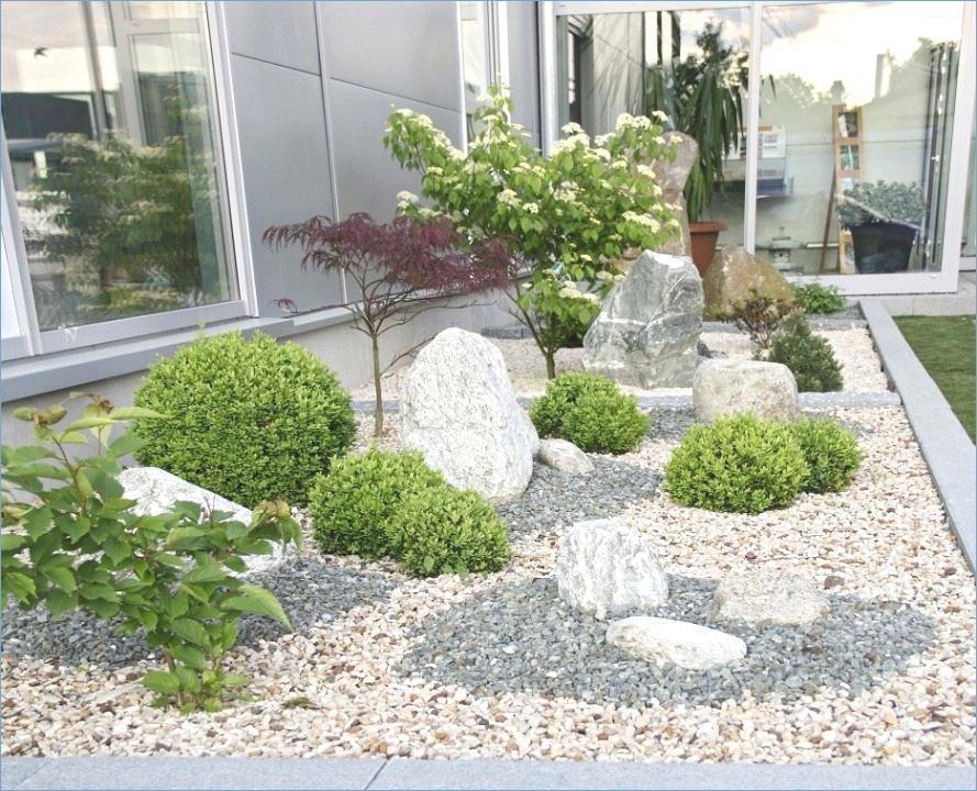 Vorgartengestaltung Kies japanischer Stil originell