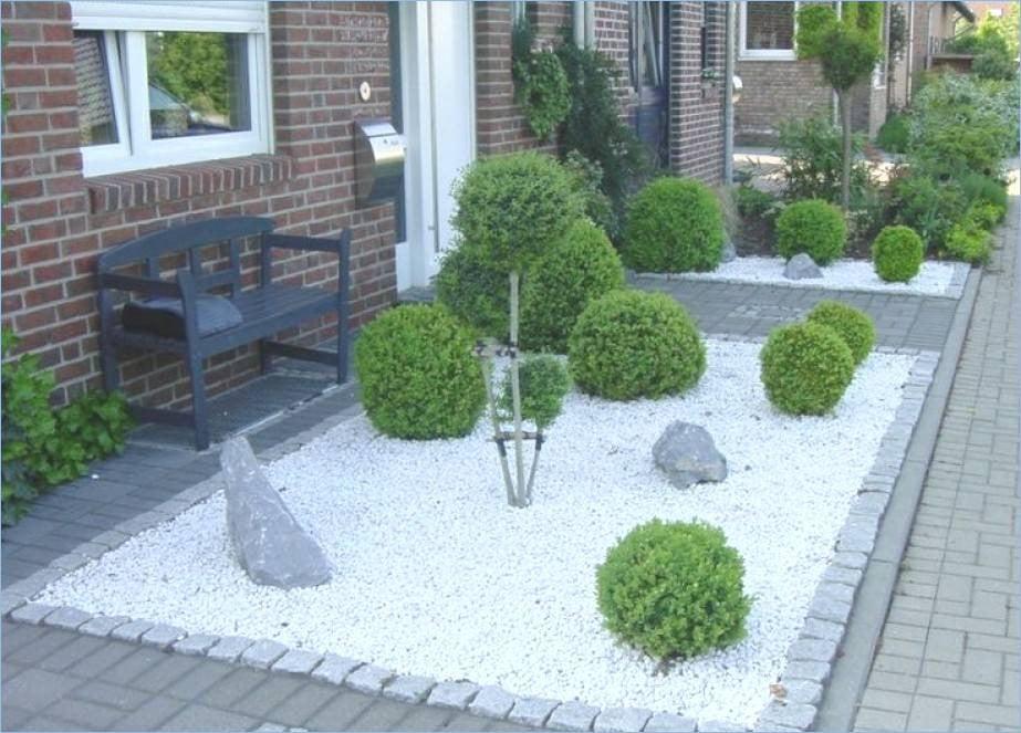 Vorgartengestaltung Kies Buchsbaum
