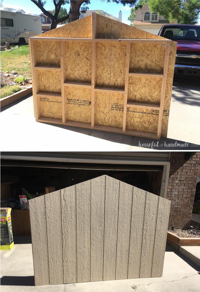 Stelzenhaus Wände bauen Holzgerüst Sperrholzplatten