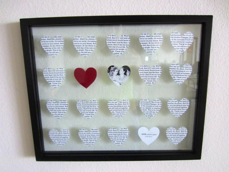 Hochzeitsgeschenke selbstgemacht Wanddeko Bild