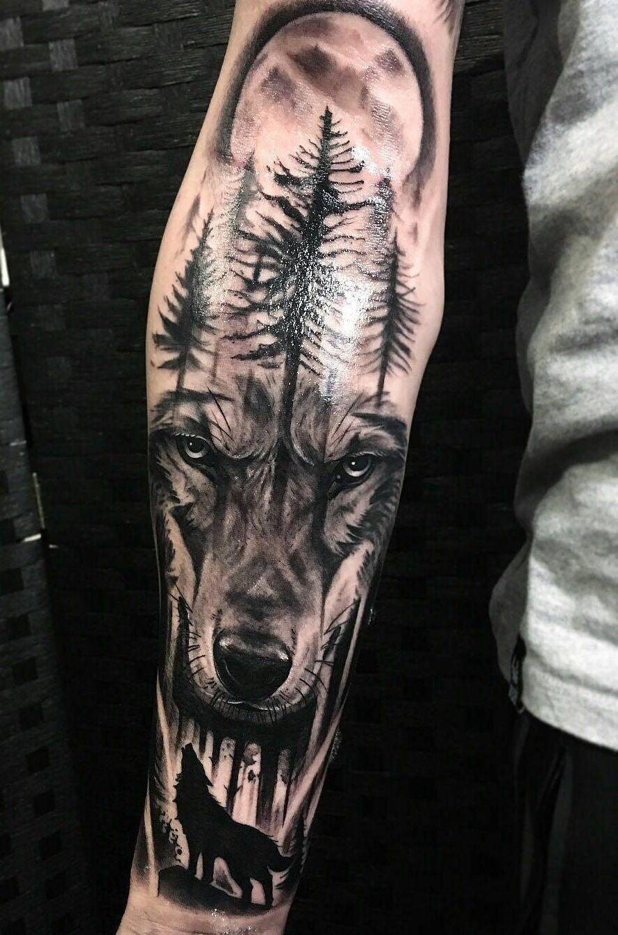 Wolf Tattoo einsam Wald Bedeutung