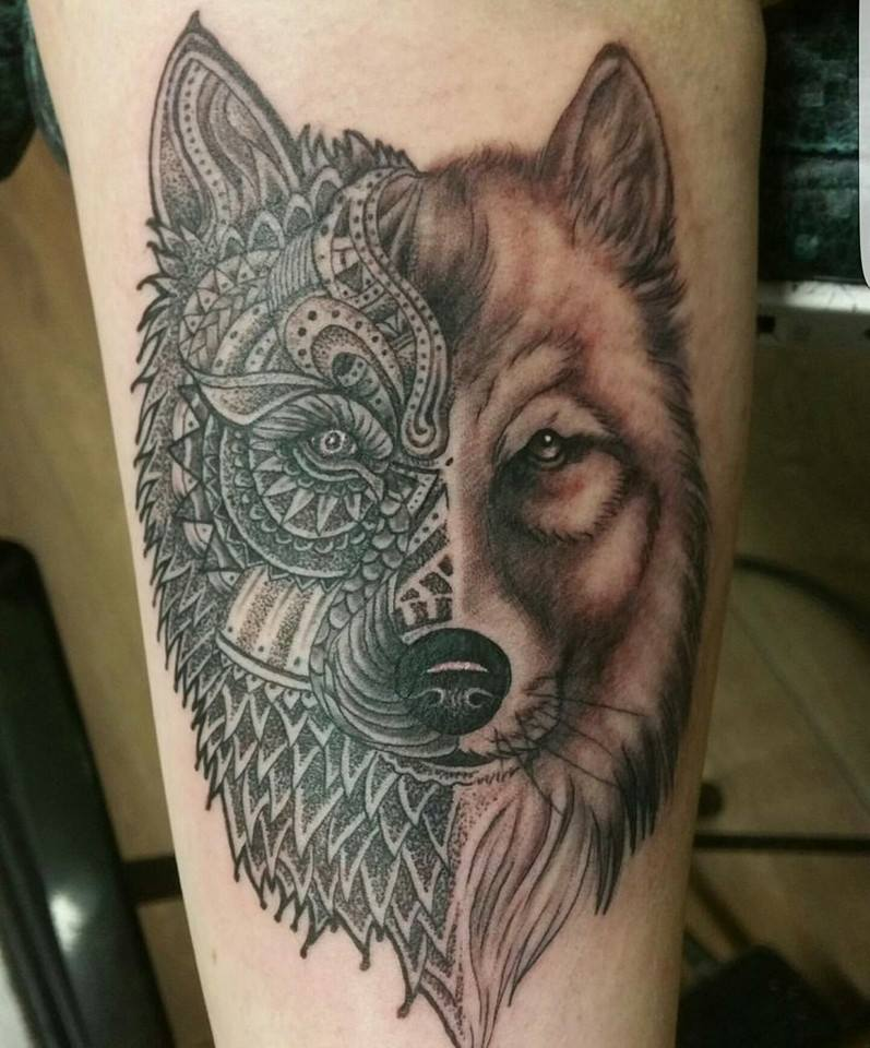 Wolf Tattoo Mandala originelles Design
