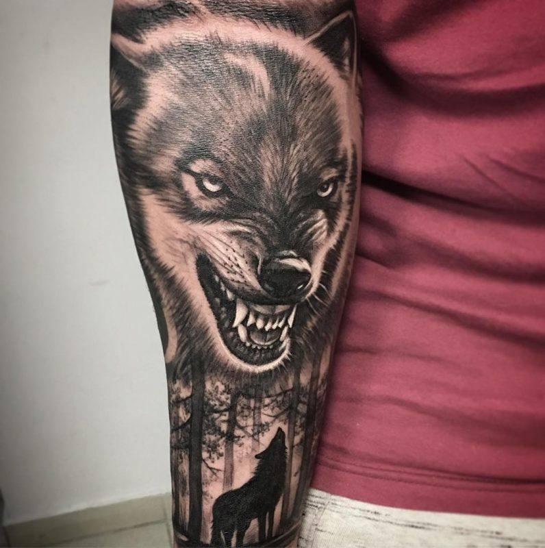 Wolf Tattoo verärgert Mann Oberarm