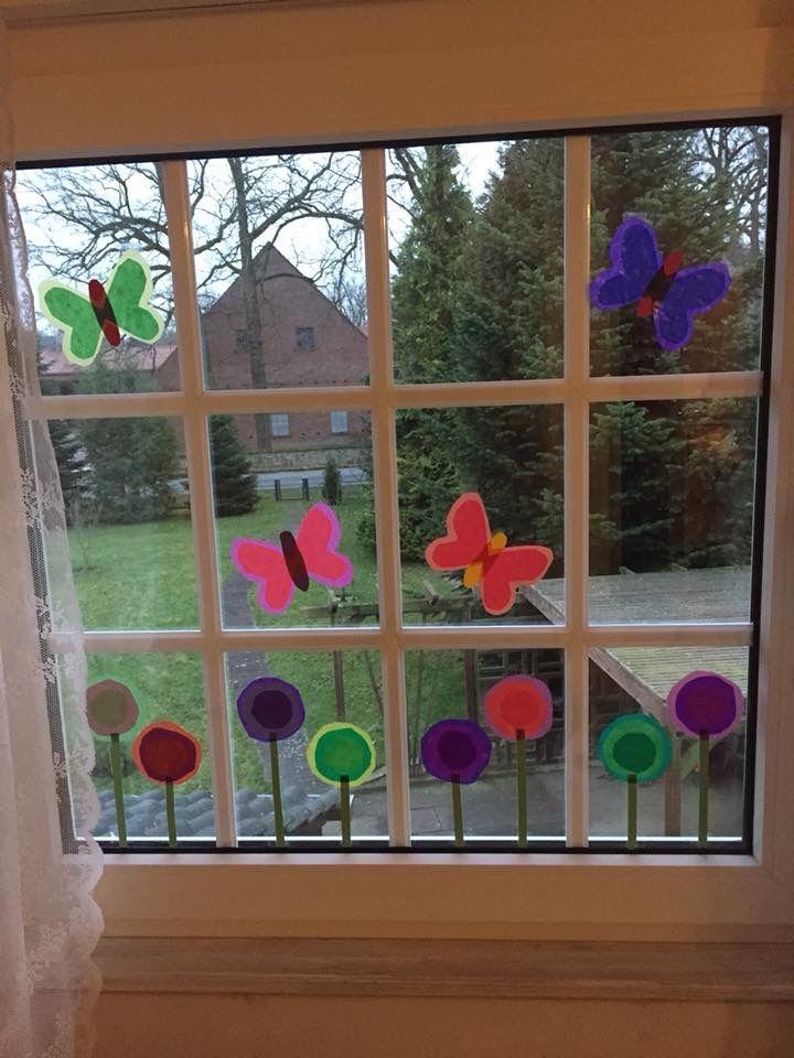 Fensterdeko Frühling DIY Fensterbilder mit Kindern