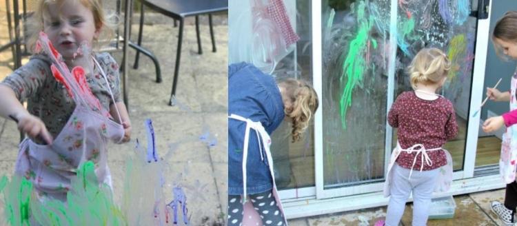 Fensterdeko Frühling mit Kindern basteln