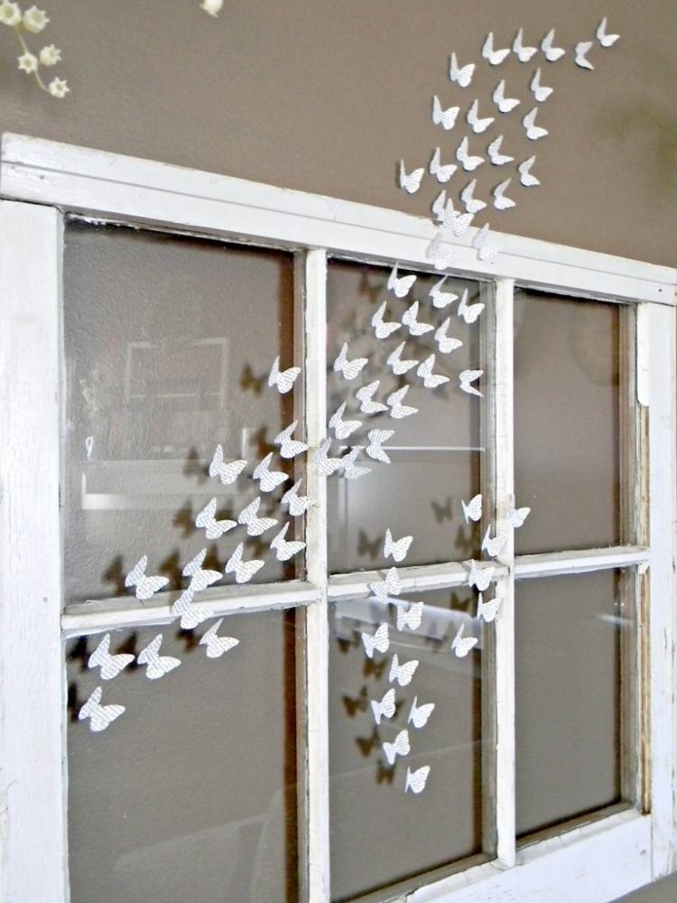 Fensterdeko Frühling minimalistisch Papier Schmetterlinge
