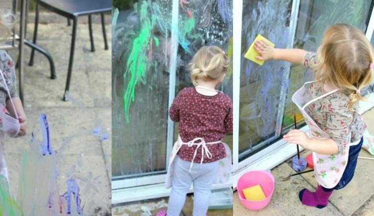 die Fensterscheiben bemalen mit Kindern