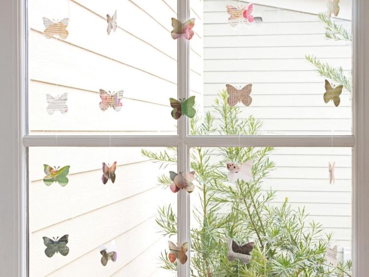 Fenster minimalistische Deko Schmetterlinge