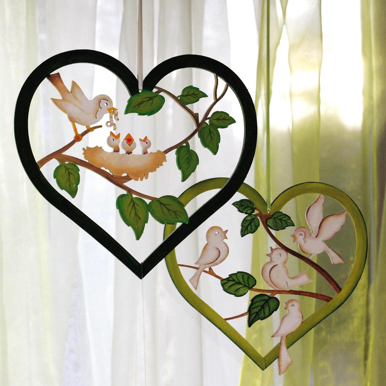 Dekoidee Fenster Herzen Vögelchen