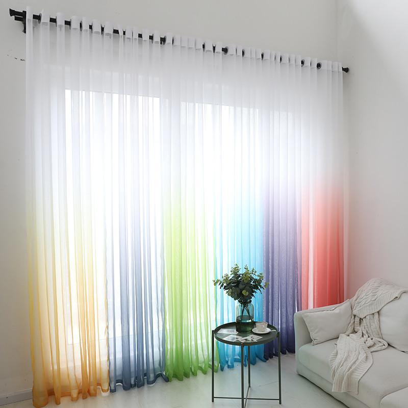 moderne Gardinen weiß mit Farbverlauf