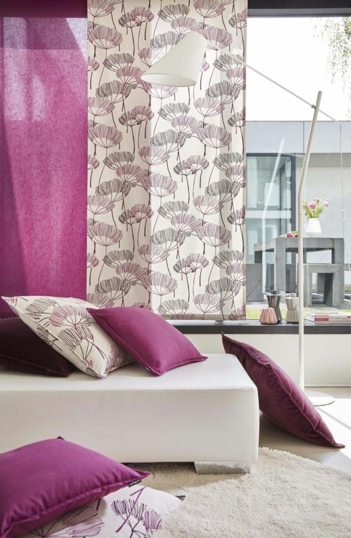 vorhänge weiß violett Pusteblumen