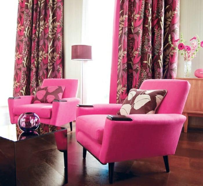 Vorhänge Pink Wohnzimmer rosa Sessel
