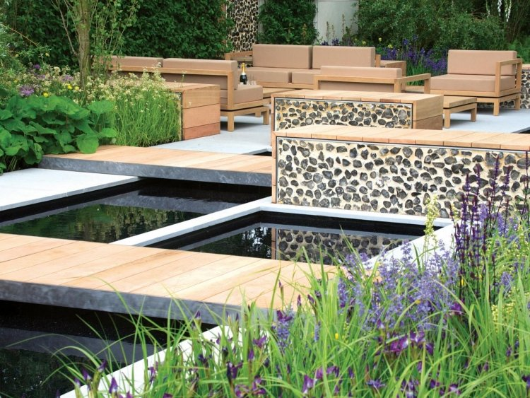 Gartenteich Vielfalt an Materialien