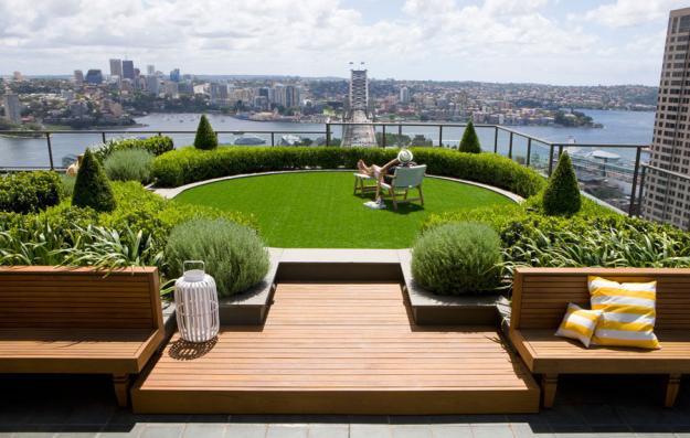 Gartengestaltung modern atemberaubende Aussicht Stadt
