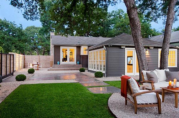 Gartengestaltung modern Rasenfläche Terrasse