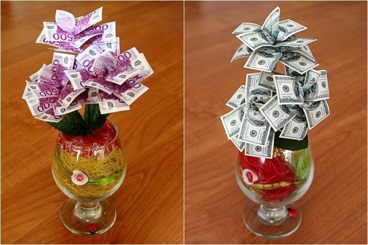 Geldgeschenke originell verpacken Blumenstrauß herrlicher Look