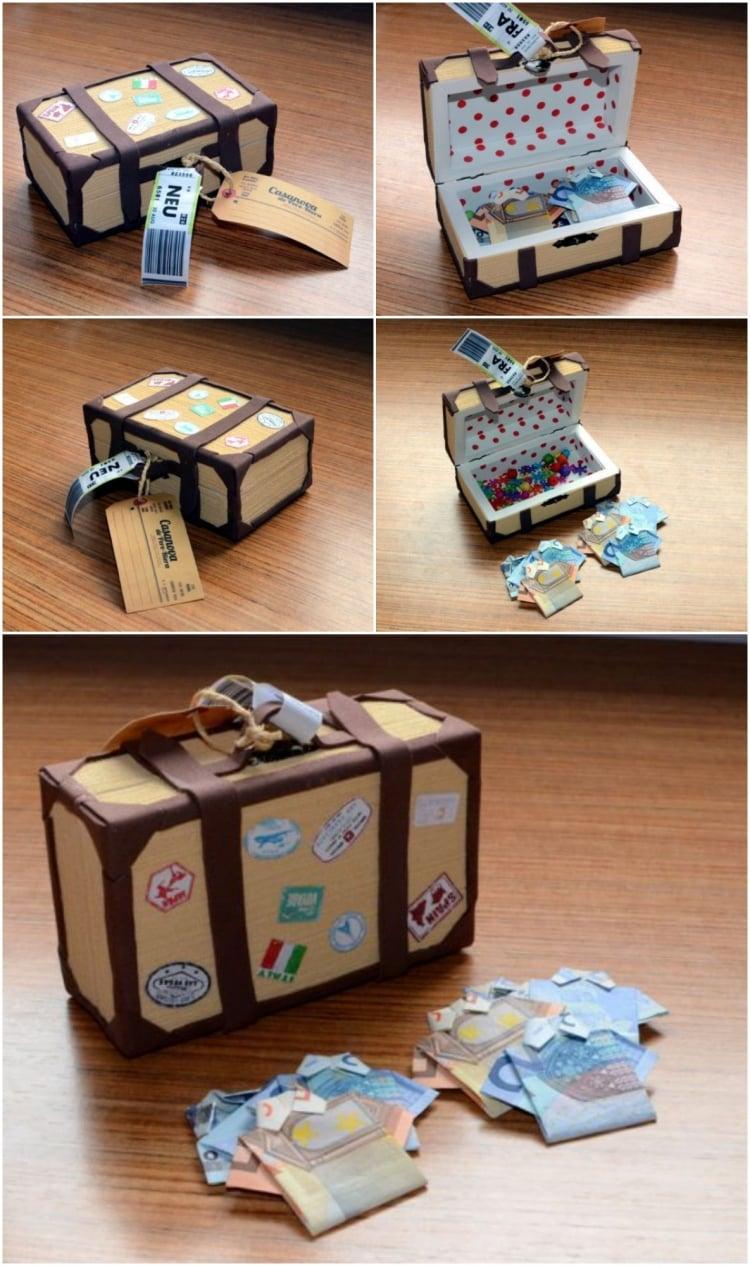 Geldgeschenke originell verpacken Koffer