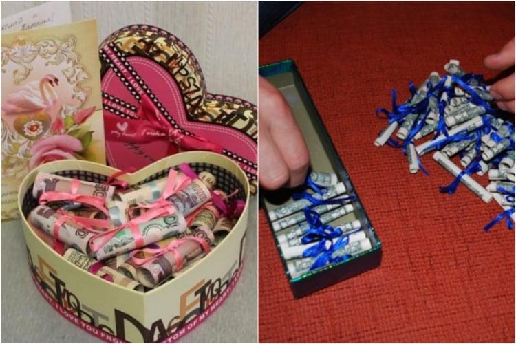 Geldgeschenke originell verpacken tolle Geschenkschachtel
