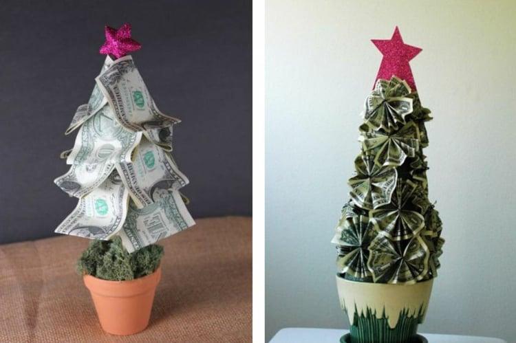 Geldscheine falten Weihnachtsbaum