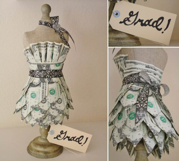 Geldgeschenke originell verpacken Geldscheine Hochzeitskleid