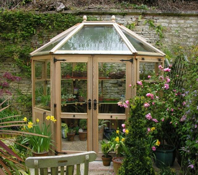 Treibhaus achteckig Holz Garten