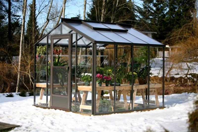 Treibhaus im Garten bauen stabile Konstruktion Edelstahl
