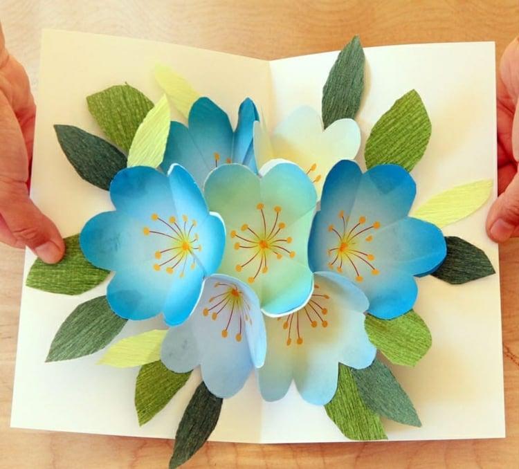 faszinierende Grußkarte 3D Blumen