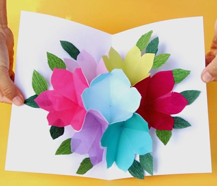 Karte Muttertag basteln Pop-up Blumen