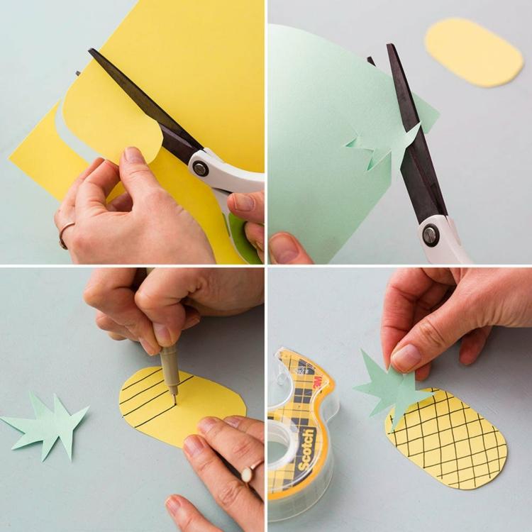 Grußkarte DIY fröhlich Ananas