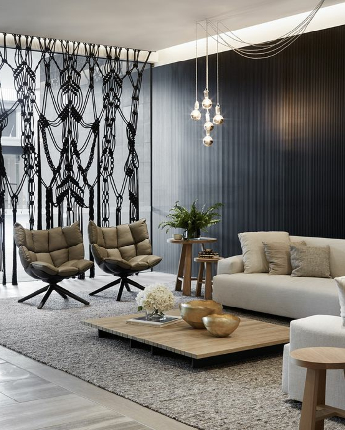 moderne Gardinen schwarz transparent