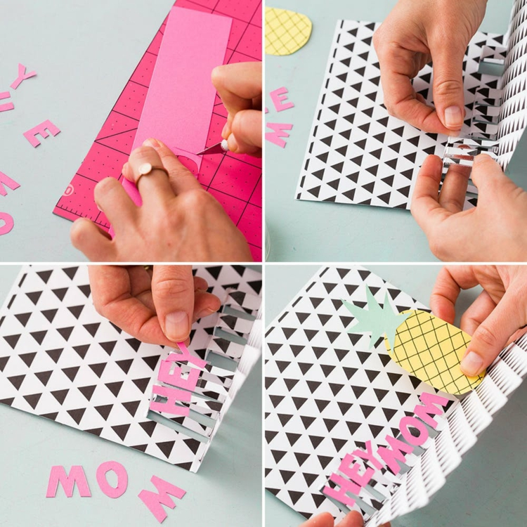 Grußkarte basteln Pop-up Anleitung in Bildern