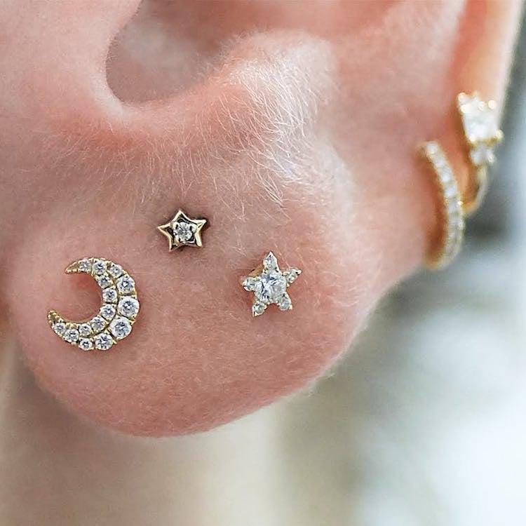 Piercing toller Schmuck Mond und Sterne